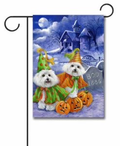Bichon Frise Haunted House - Garden Flag - 12.5'' x 18''