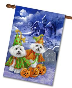Bichon Frise Haunted House - House Flag - 28'' x 40''