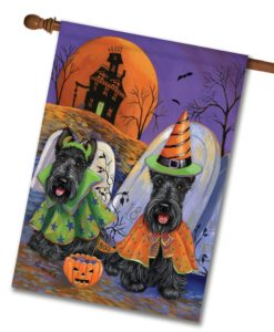 Scottish Terrier Haunted House - House Flag - 28'' x 40''