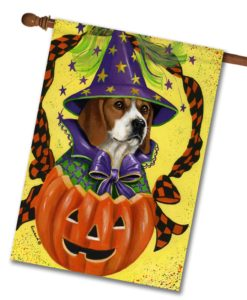 Beagle Halloweenie - House Flag - 28'' x 40''