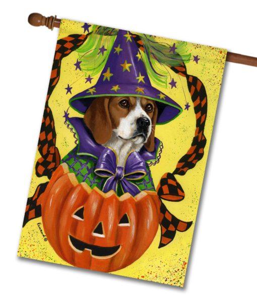 Beagle Halloweenie - House Flag - 28'' x 40''