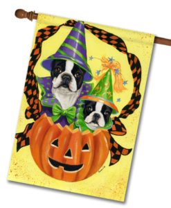 Boston Terrier Halloweenies - House Flag - 28'' x 40''