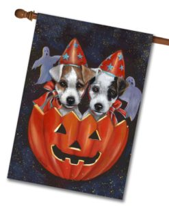 Jack Russell Halloweenies - House Flag - 28'' x 40''