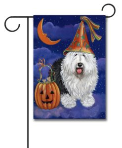 Old English Sheepdog Halloweenie - Garden Flag - 12.5'' x 18''