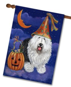 Old English Sheepdog Halloweenie - House Flag - 28'' x 40''