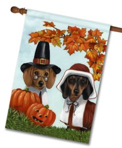Dachshund Thankful- House Flag - 28'' x 40''