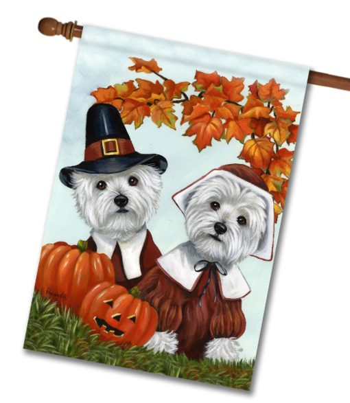 West Highland Terrier Thankful - House Flag - 28'' x 40''