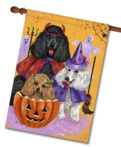 Poodle Halloweenies - House Flag - 28'' x 40''