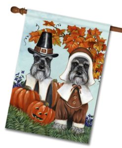 Schnauzer Ye Thankful Pilgrims - House Flag - 28'' x 40''