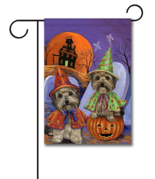 Yorkshire Terrier Haunted House - Garden Flag - 12.5'' x 18''
