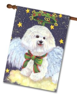 Bichon Frise Holiday Angel - House Flag - 28'' x 40''