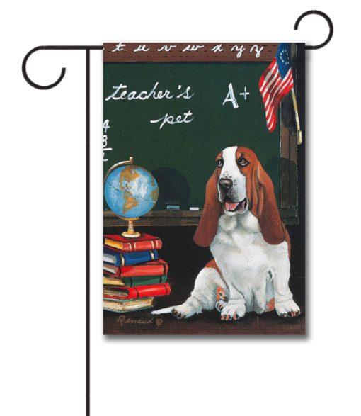Basset Hound Teacher's Pet - Garden Flag - 12.5'' x 18''