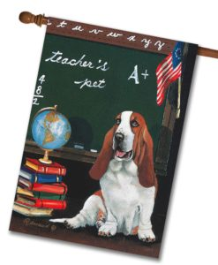 Basset Hound Teacher's Pet - House Flag - 28'' x 40''