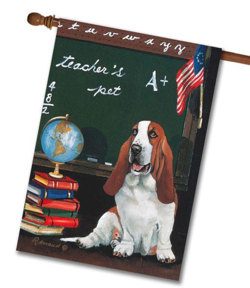 Basset Hound Teacher's Pet - House Flag - 28'' x 40''