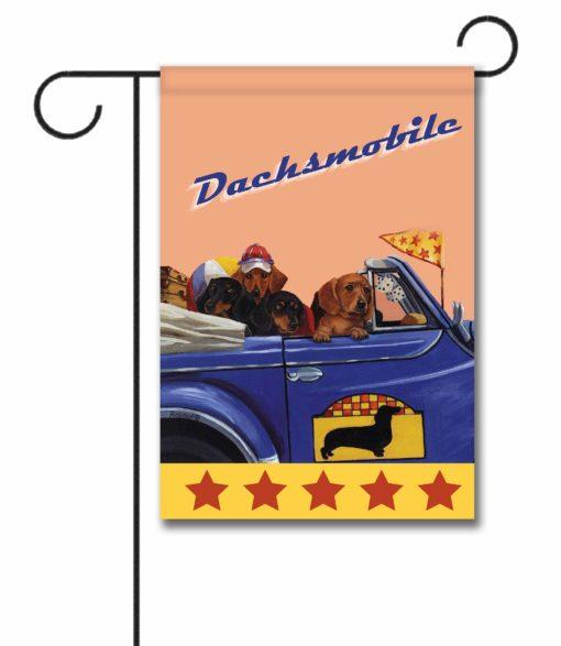 Dachshund Dachsmobile - Garden Flag - 12.5'' x 18''