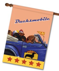 Dachshund Dachsmobile - House Flag - 28'' x 40''