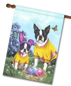 Boston Terrier Spring Bunny - House Flag - 28'' x 40''