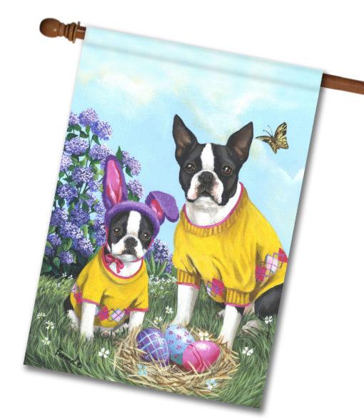 Boston Terrier Spring Bunny - House Flag - 28'' x 40''