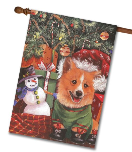 Corgi Under My Tree - House Flag - 28'' x 40''
