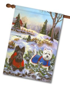 Scottie & Westie Scotch Pine Hill - House Flag - 28'' x 40''