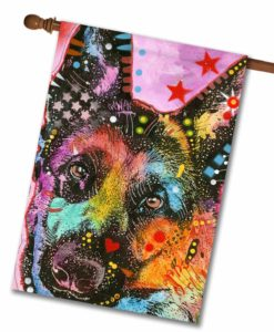 German Shepherd Pop Art - House Flag - 28'' x 40''
