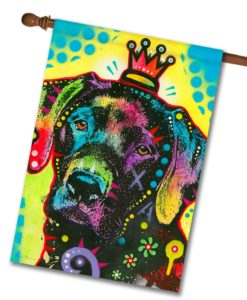 Labrador Crowned Pop Art - House Flag - 28'' x 40''