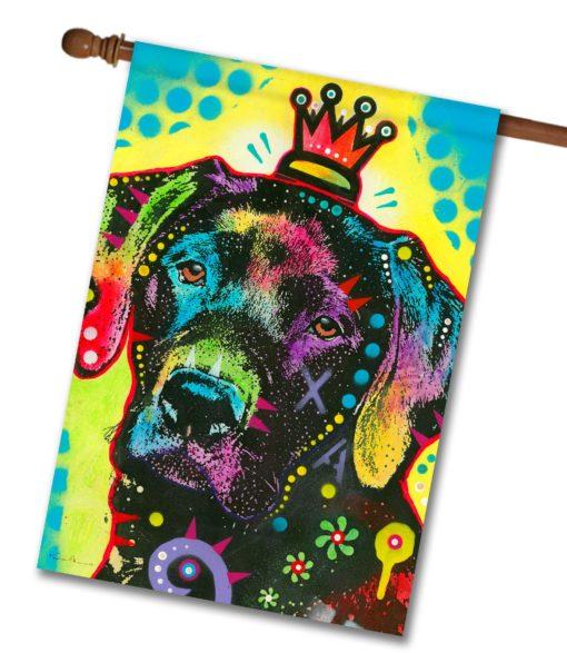 Labrador Crowned Pop Art - House Flag - 28'' x 40''
