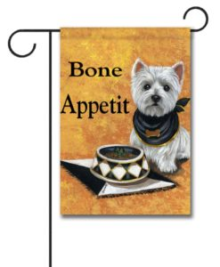 West Highland Terrier Bone Appetit - Garden Flag - 12.5'' x 18''
