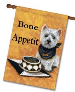 West Highland Terrier Bone Appetit - House Flag - 28'' x 40''