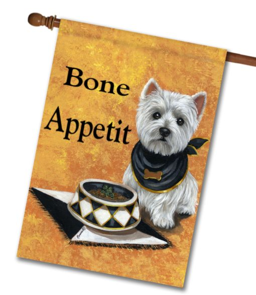 West Highland Terrier Bone Appetit - House Flag - 28'' x 40''
