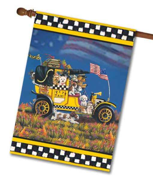 Multi-Breed Pet Taxi Brian - House Flag - 28'' x 40''