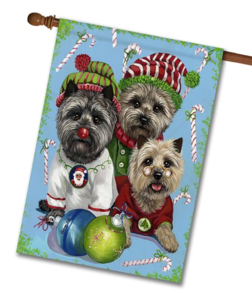 Cairn Terrier Elves - House Flag - 28'' x 40''