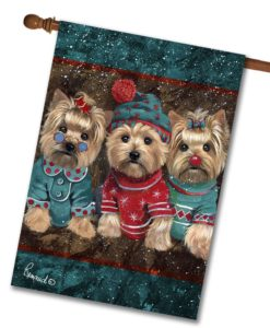 Yorkshire Terrier Elves - House Flag - 28'' x 40''