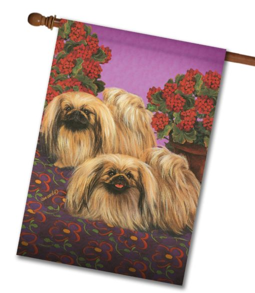 Pekingese Happy We Are - House Flag - 28'' x 40''