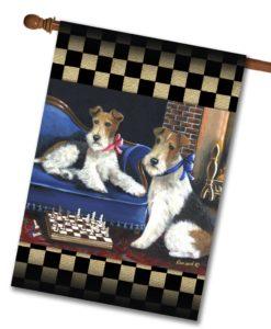 Fox Terrier Checkmates - House Flag - 28'' x 40''