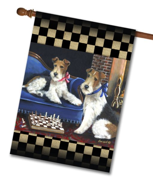 Fox Terrier Checkmates - House Flag - 28'' x 40''