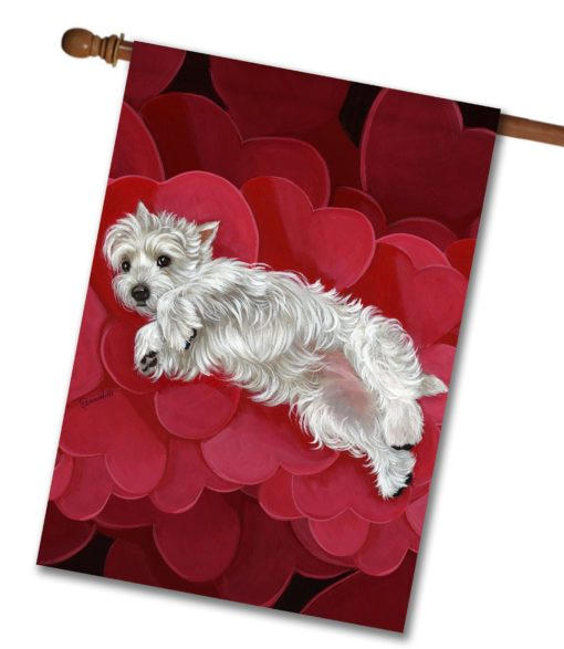 West Highland Terrier Queen of Hearts - House Flag - 28'' x 40''
