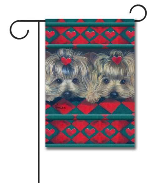 Yorkshire Terrier Two Hearts - Garden Flag - 12.5'' x 18''