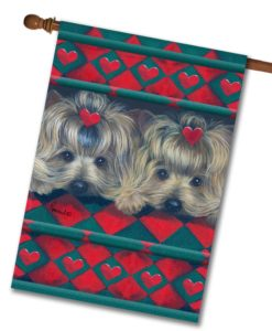 Yorkshire Terrier Two Hearts - House Flag - 28'' x 40''