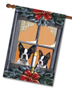 Boston Terrier Looking for Santa - House Flag - 28'' x 40''