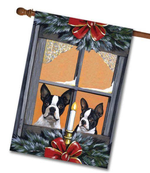 Boston Terrier Looking for Santa - House Flag - 28'' x 40''