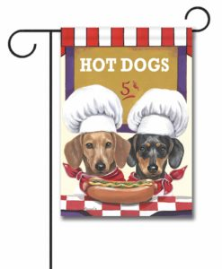 Dachshund Hot Dog Stand - Garden Flag - 12.5'' x 18''
