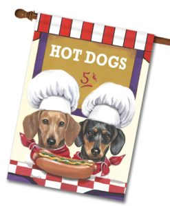 Dachshund Hot Dog Stand - House Flag - 28'' x 40''