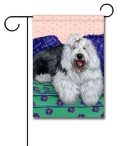 Old English Sheepdog Lucy - Garden Flag - 12.5'' x 18''