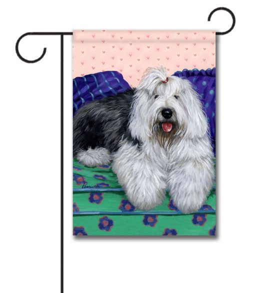 Old English Sheepdog Lucy - Garden Flag - 12.5'' x 18''