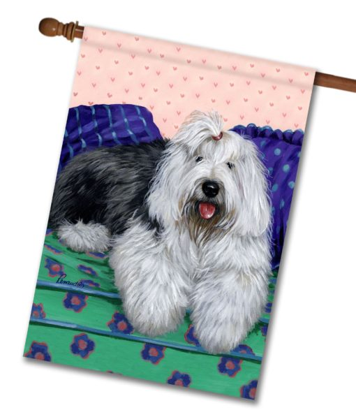 Old English Sheepdog Lucy - House Flag - 28'' x 40''