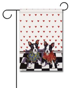 Boston Terrier Puppy Love - Garden Flag - 12.5'' x 18''