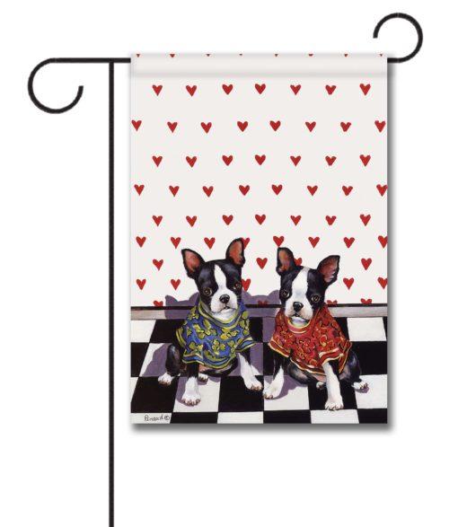 Boston Terrier Puppy Love - Garden Flag - 12.5'' x 18''