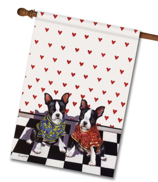 Boston Terrier Puppy Love - House Flag - 28'' x 40''