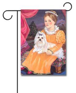 Maltese Terrier Folk Art - Garden Flag - 12.5'' x 18''